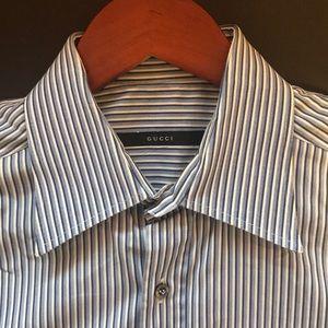 Gucci Men's Dress Shirt 15 1/2 French cuff Striped